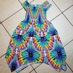 🔥Tie-Dye Print Hankie Hem Summer Dress